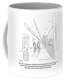 A Traveler Walking Through The Airport Speaks Coffee Mug