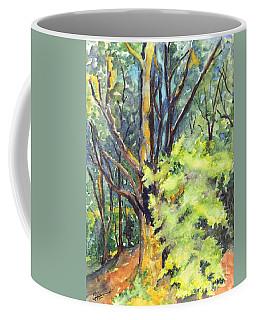 Coffee Mug featuring the painting A Tree In Dunkeld Scotland by Carol Wisniewski
