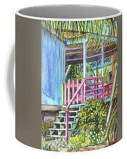 Coffee Mug featuring the painting A Tropical House Porch by Carol Wisniewski