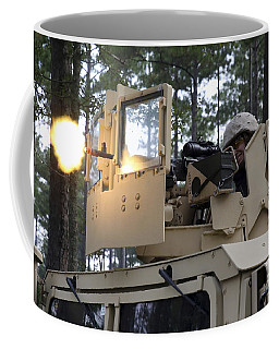 A U.s. Marine Fires A M-240b Machine Coffee Mug