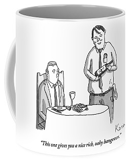A Waiter Describes The Bottle Of Wine He Holds Coffee Mug