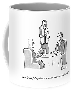 A Waiter Speaks To A Couple At A Restaurant Coffee Mug