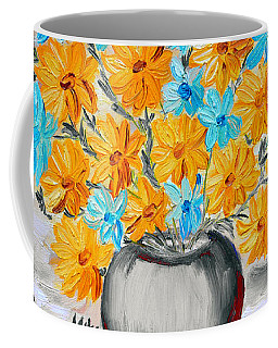 Coffee Mug featuring the painting A Whole Bunch Of Daisies Selective Color II by Ramona Matei