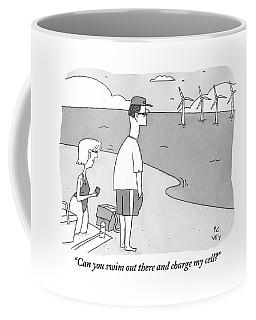 A Wife Speaks To Her Husband On The Beach Coffee Mug