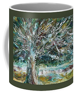 Coffee Mug featuring the painting A Winter Tree by Mary Wolf
