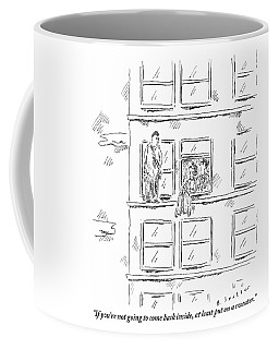 A Woman And A Policeman Look Out Of The Window Coffee Mug