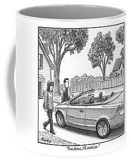 A Woman And Man Are Walking From Their House Coffee Mug