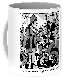 A Woman Approaches A Man At A Cafe And Speaks Coffee Mug