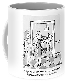 A Woman Arrives At A Brunch Party Coffee Mug