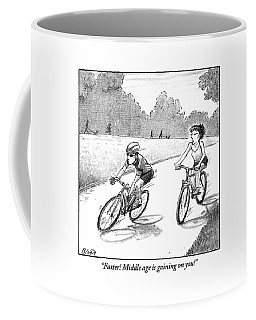 A Woman Casually Riding A Bicycle Addresses A Man Coffee Mug