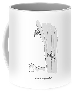 A Woman Climbs After And Calls Out To A Young Coffee Mug