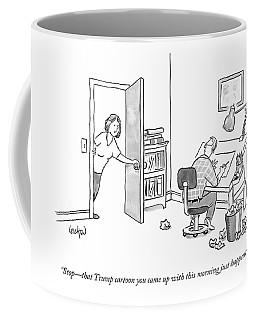 A Woman Interrupting A Cartoonist Working Coffee Mug