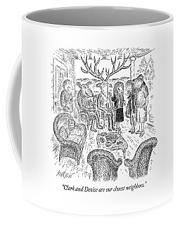 A Woman Introduces A Couple To A Deer Couple Who Coffee Mug