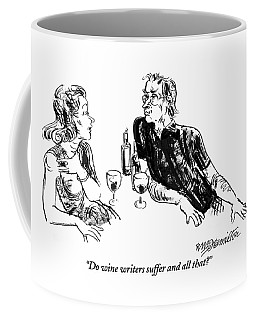 A Woman Is Seen Speaking With A Man As They Drink Coffee Mug