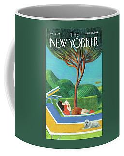 A Woman Lays Outside Under A Tree Reading A Book Coffee Mug