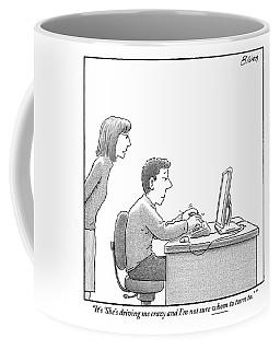 A Woman Looks Over Her Husband's Shoulder Coffee Mug