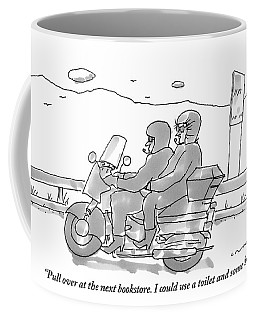 A Woman On The Back Of A Motorcycle Talks Coffee Mug