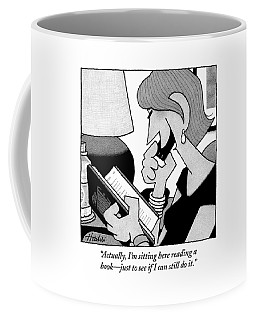 A Woman On The Phone Is Holding A Book Coffee Mug