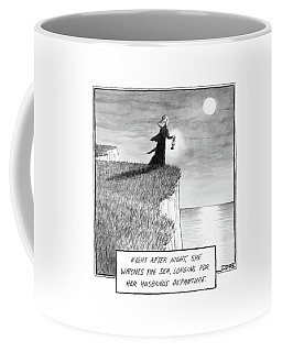 A Woman Runs In The Dark Toward A Cliff Coffee Mug