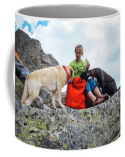 A Woman Sharing Her Lunch With Her K9 Coffee Mug