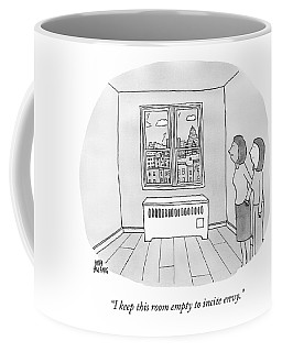 A Woman Shows Another Woman An Empty Room Coffee Mug