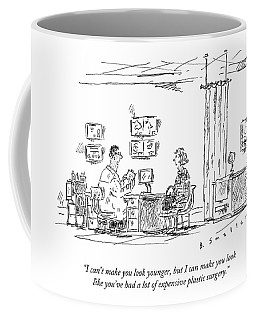 A Woman Sitting In A Plastic Surgeon's Office Coffee Mug