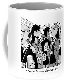 A Woman Speaks To A Man At A Class Reunion Coffee Mug
