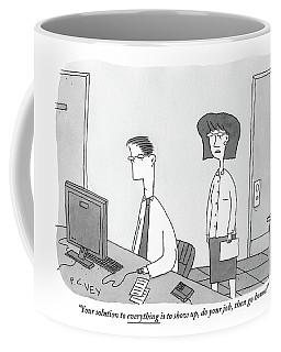 A Woman Speaks To A Man Who Is Working Coffee Mug