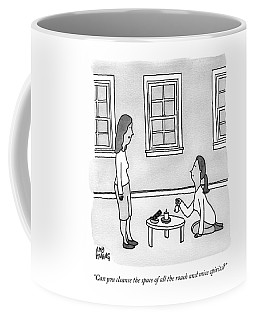 A Woman Speaks To Another Woman Who Kneels Coffee Mug