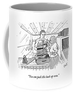 A Woman Stands Irritated Before Her Open Suitcase Coffee Mug