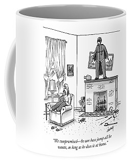 A Woman Talking On The Phone While A Man Coffee Mug