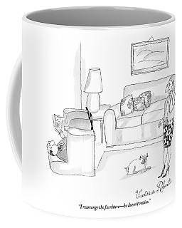 A Woman Talking On The Phone While Her Husband Coffee Mug