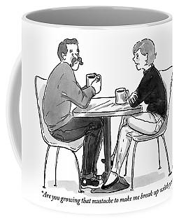 A Woman Talks To A Man With A Mustache Coffee Mug
