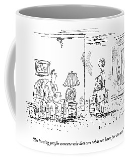 A Woman With Luggage Confronts Her Husband Coffee Mug