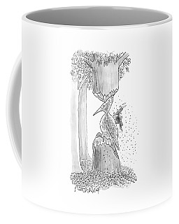 A Woodpecker Is Using His Beak To Carve Is Own Coffee Mug