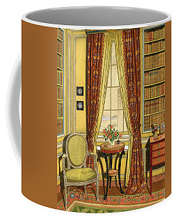 A Yellow Library With A Vase Of Flowers Coffee Mug