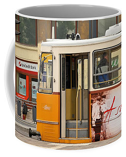 A Yellow Tram On The Streets Of Budapest Hungary Coffee Mug