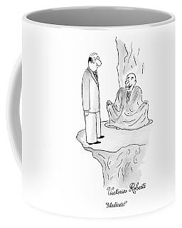 A Yogi-type Is Sitting Cross Legged And A Man Coffee Mug