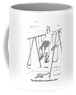 A Young Boy On A Swingset To His Father Coffee Mug