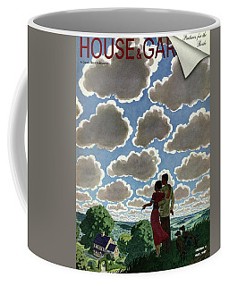 A Young Couple And Their Dogs On A Hilltop Coffee Mug