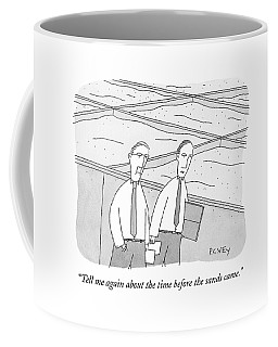 A Young Office Employee Asks An Older Employee Coffee Mug