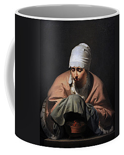 A Young Woman Warming Her Hands Over A Brazier Allegory Of Winter, C. 1644-1648, By Cesar Boetius Coffee Mug