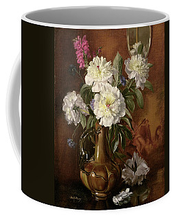 White Peonies In A Glazed Victorian Vase Coffee Mug