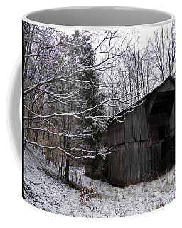 Coffee Mug featuring the photograph Abandoned Barn And Snow by Nick Kirby