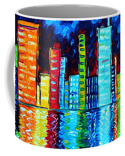 Abstract Art Landscape City Cityscape Textured Painting City Nights II By Madart Coffee Mug