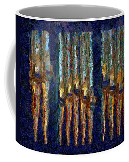 Abstract Blue And Gold Organ Pipes Coffee Mug