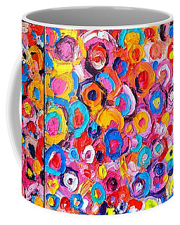 Abstract Colorful Flowers Triptych  Coffee Mug