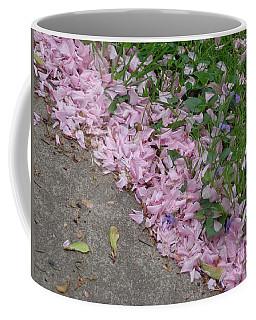 Abstract Diagonal Pink Petals Coffee Mug by Christina Verdgeline