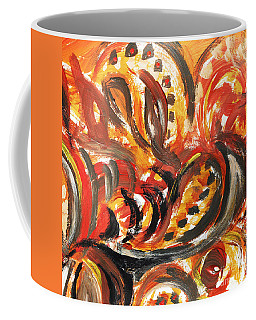 Abstract Khokhloma Floral Design Autumn Leaves Coffee Mug