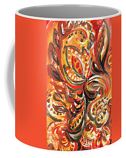 Abstract Floral Khokhloma Warm Twirl Coffee Mug